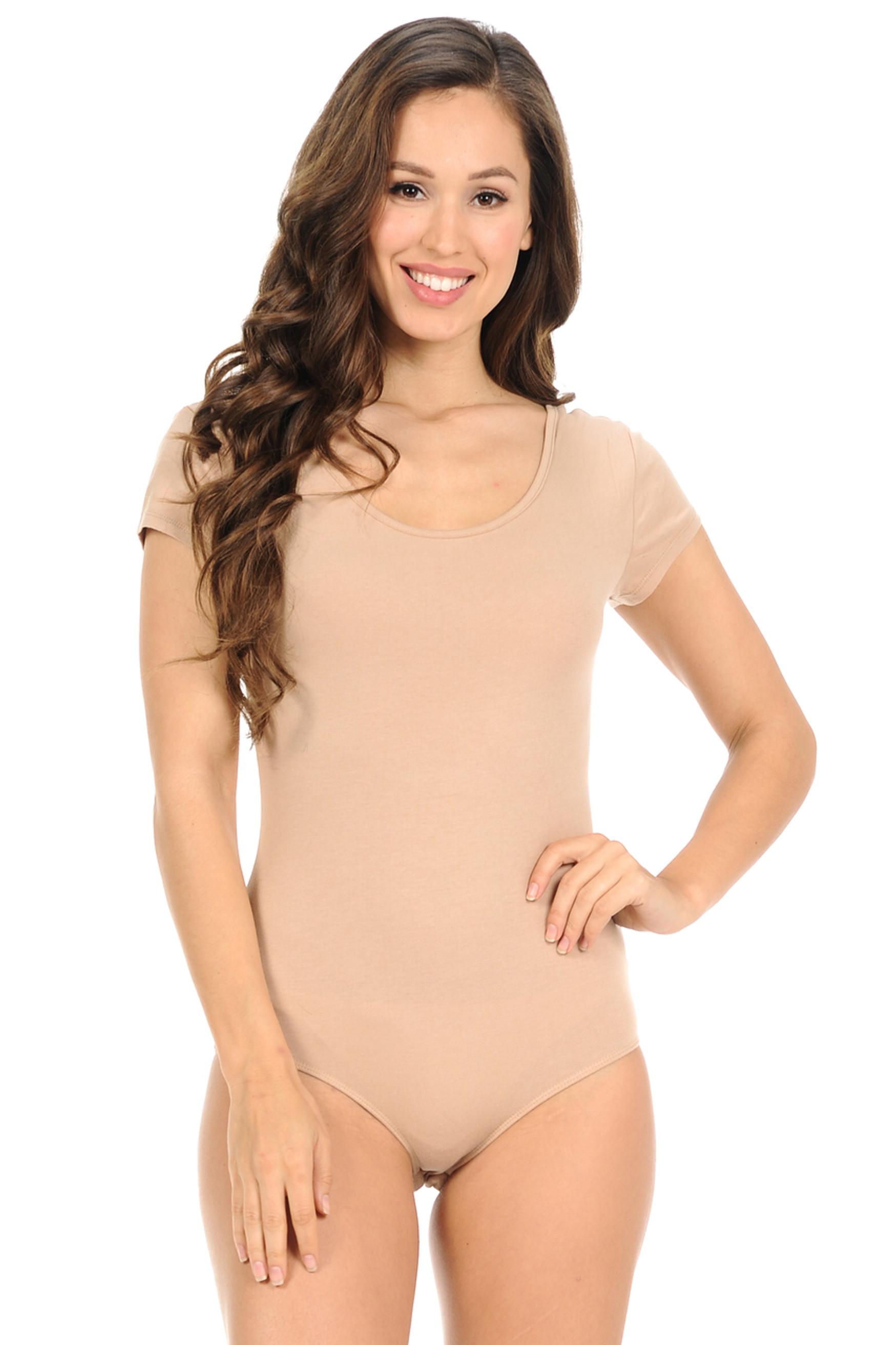 Short Sleeve Scoop Neck Cotton Bodysuit