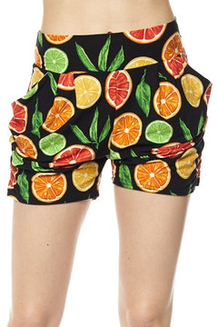 Citrus Fruit Harem Shorts