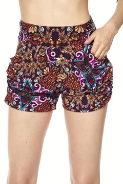 Fuchsia Glow Motif Harem Shorts