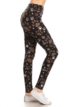 High Waisted Muddy Paw Print Leggings
