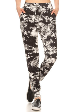 Brushed Black and White Tie Dye Joggers