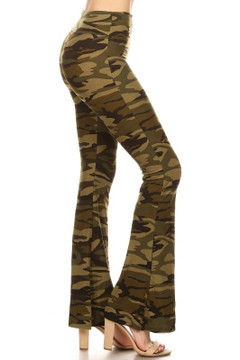 Brushed Camouflage Bell Bottom Leggings