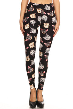 Brushed Kitty Cat Faces Plus Size Leggings - 3X-5X