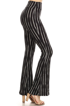 Brushed Black Rustic Pinstripe Bell Bottom Leggings