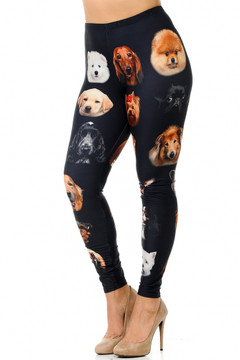 Creamy Soft Cute Puppy Dog Faces Plus Size Leggings