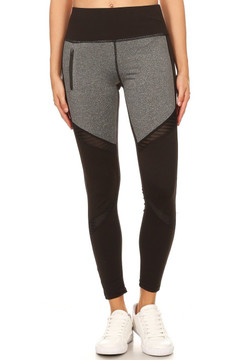 Premium Front Panel Mesh Accent Workout Leggings
