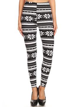 Brushed Black and White Snowflake Leggings