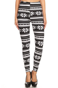 Brushed Black and White Snowflake Plus Size Leggings