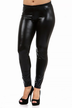 Shiny Black Faux Leather Leggings - Plus Size