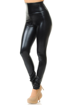 67cac5da50c94 Shiny Black High Waisted Faux Leather Leggings