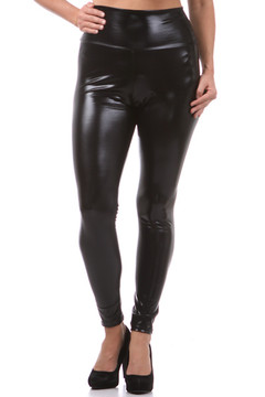 Shiny Black High Waisted Faux Leather Leggings - Plus Size
