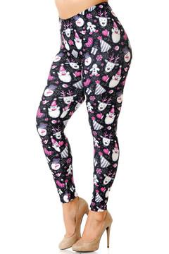 Creamy Soft Festive Pink Christmas Plus Size Leggings