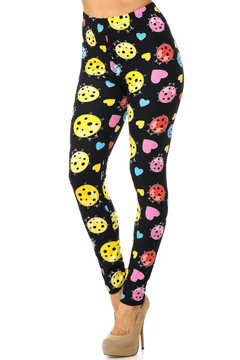 Brushed Ladybugs and Hearts Leggings