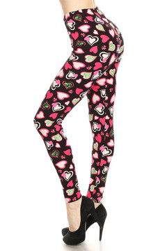 Brushed Cute Valentine Hearts Leggings