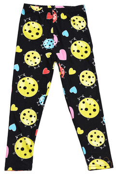 Brushed Ladybugs and Hearts Kids Leggings