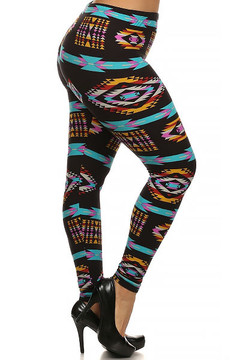 Right side Image of Brushed Sacred Tribal Plus Size Leggings