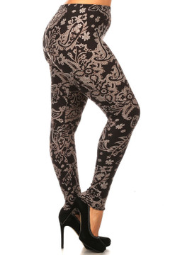 Brushed Champagne Paisley Plus Size Leggings - 3X - 5X