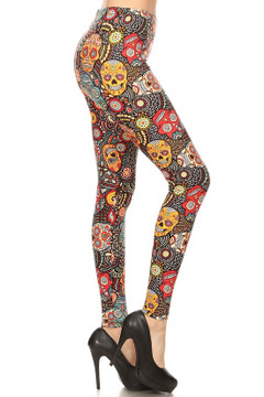 Brushed Mango Sugar Skull Plus Size Leggings