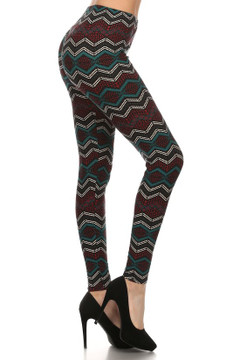 Brushed Chevron Bands Leggings