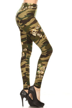 Brushed Green Skull Camouflage Plus Size Leggings