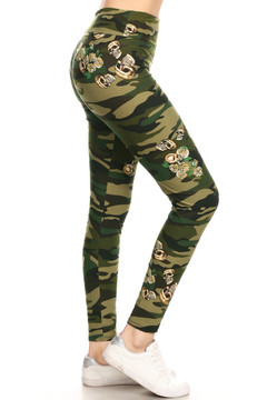 Brushed Green Skull Camouflage High Waisted Plus Size Leggings