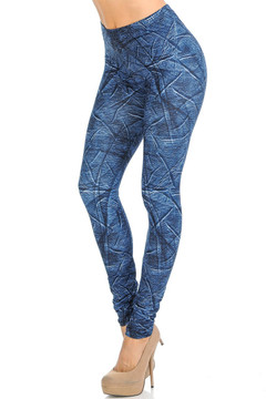 Creamy Soft Wrinkled Denim Leggings - Signature Collection