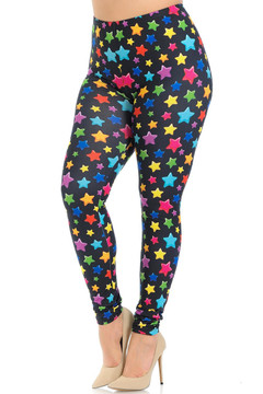 Creamy Soft Colorful Cartoon Stars Plus Size Leggings - Signature Collection