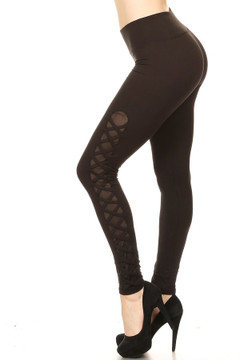 Women's Crisscross Mesh Workout Leggings