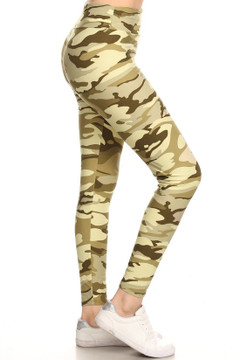 Brushed Light Olive Camouflage High Waisted Plus Size Leggings