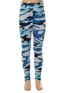 Brushed Blue Camouflage Kids Leggings - EEVEE