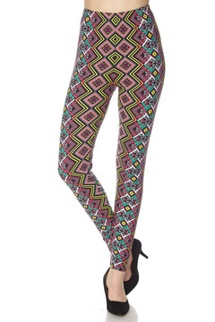 Brushed Angled Colorful Symmetry Plus Size Leggings