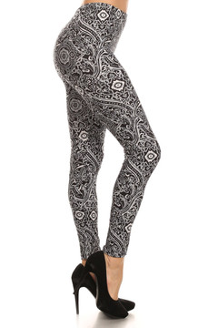 Side Image of Brushed Ornate Paisley Leggings