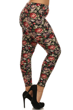 Right side leg image of Brushed Vintage Floral Plus Size Leggings - 3X - 5X