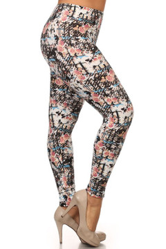 Brushed Scratch Floral Plus Size Leggings