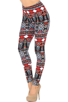Brushed Red Tribal Leggings