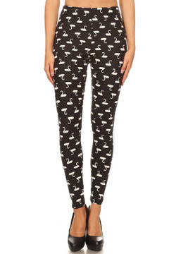 Brushed Polka Dot Swan Plus Size Leggings - 3X-5X
