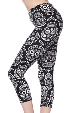 Brushed Symmetrical Sugar Skull Capris