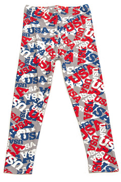 Brushed All Over USA Kids Leggings