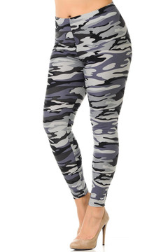 Brushed Monochrome Camouflage Plus Size Leggings - 3X-5X
