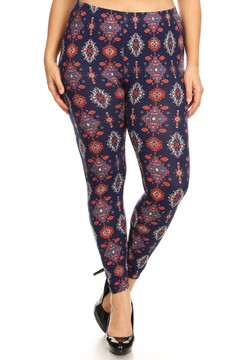 Brushed Vertical Mayan Mirage Floral Plus Size Leggings