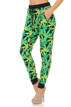 Brushed Spring Green Marijuana Joggers