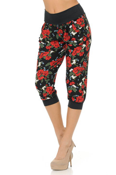 Brushed Blooming Ruby Rose Capri Joggers