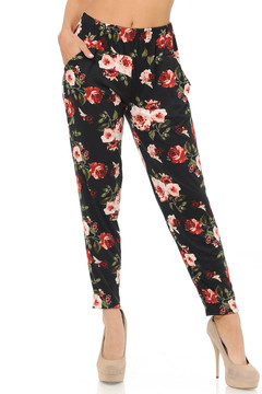 Brushed Red and Pink Roses Harem Pant