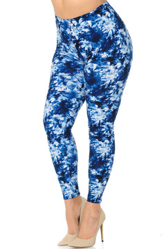 Brushed Summer Blue Tie Dye Plus Size Leggings