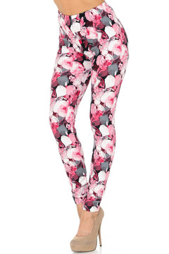Brushed Lavish Raspberry Rose Leggings