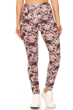 Brushed Beautiful Pink Floral Eden High Waist Leggings