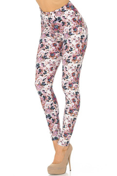 Brushed Black Burgundy Rose High Waist Leggings