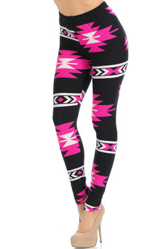 Brushed Fuchsia Aztec Tribal Leggings