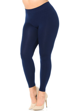 Premium Nylon Spandex Solid Basic Plus Size Leggings