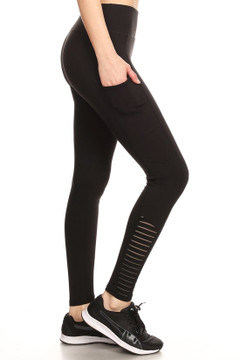 Ankle Serrated Solid Workout Leggings